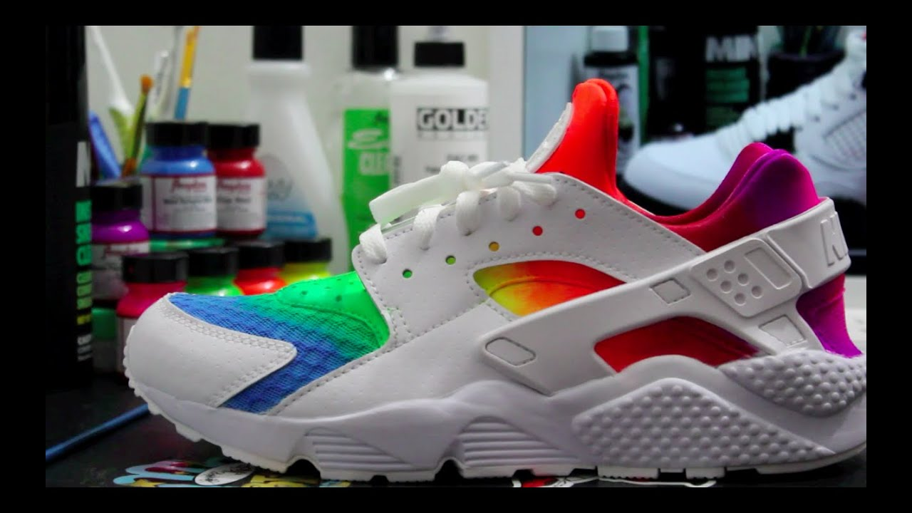 64f7e52f9779c Custom Rainbow Huarache s - YouTube