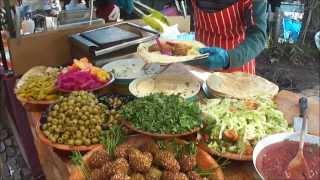 Delicious Lebanese Street Food: Vegetarian Falafel/hummus/salad Wraps In Camden Market, London.