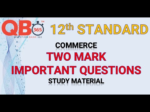 TN   12th Standard Commerce Two Mark Important Questions With Answer Key - Full Portion