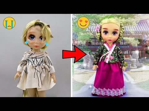 DIY BABY DOLL TRANSFORMATION #4 👸 Custom Korean Doll Makeover, Hairstyles and Clothes