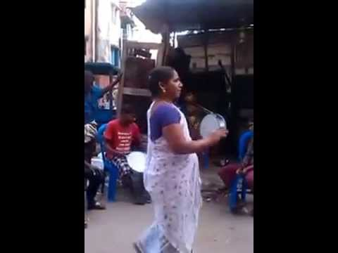 Tamil South Indian Aunty dancing on the road for Jayalalitha