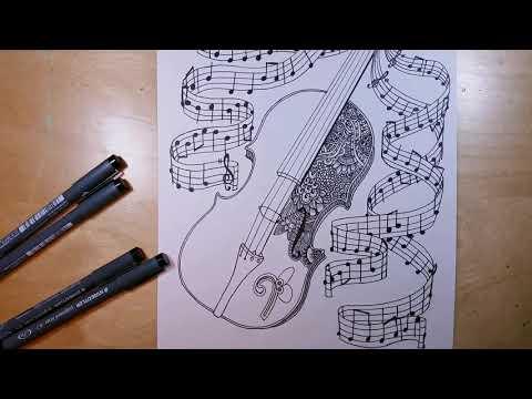 Zentangle Art Time Lapse - Violin