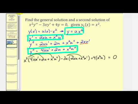 Reduction Of Order Linear Second Order Homogeneous Differential