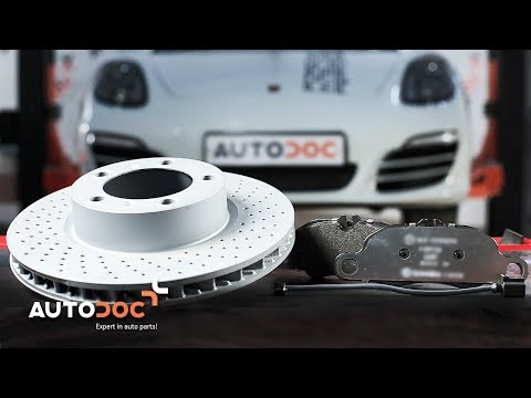How to replace front brake discs and brake pads PORSCHE BOXSTER  981 TUTORIAL AUTODOC