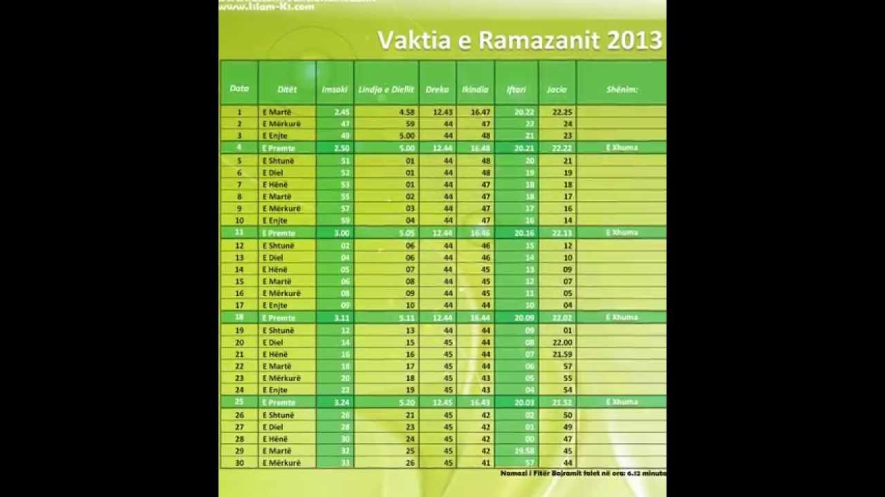 Vaktia e ramazanit 2013 kosov - YouTube