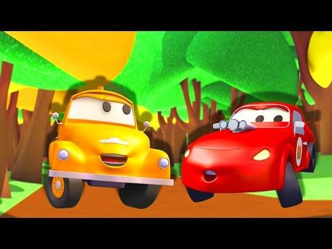 Odtahový vůz Tom a závodní auto Jerry | Animák z prostředí staveniště s auty a nákladními vozy