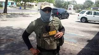 Masked Broward county sheriff deputies demands id walk of shame!