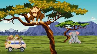 Африканское сафари, дикие животные, анимация саванны для детей