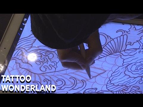 Tattoo Wonderland - Koi, Lotus, & Waves Tattoo Flash Time Lapse