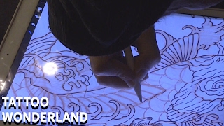 Tattoo Wonderland - Koi, Lotus, & Waves Tattoo Flash Time Lapse