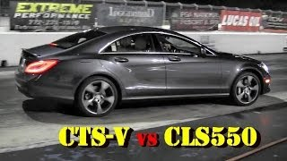 556 HP CTS-V vs 500 HP CLS550 4 Matic - 1/4 Mile Drag Race  Video - Road Test TV ®