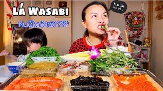 Lá wasabi xúc trứng, trứng cá tu yết, cá trích muối cay, trứng cá hồi, bạch tuộc cay & tảo bẹ ngâm tương