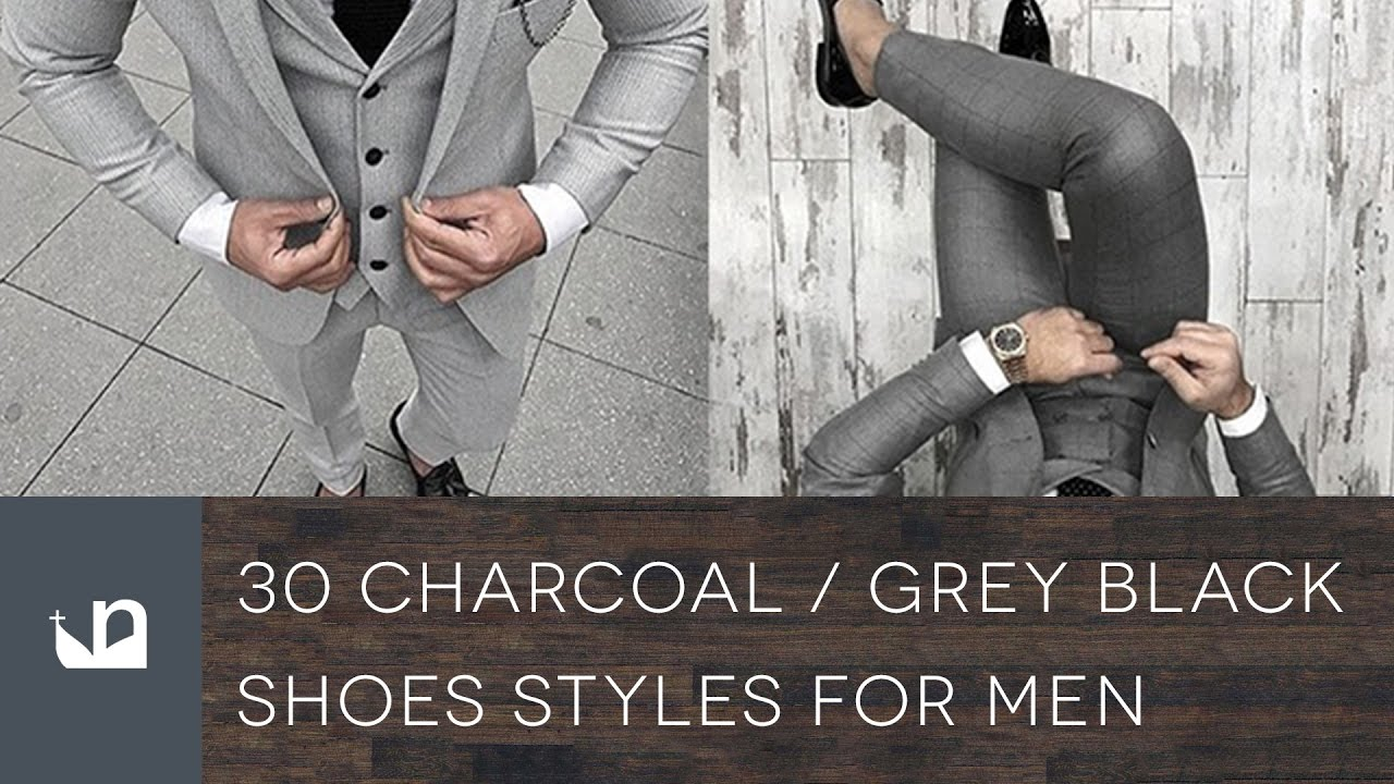Charcoal Suit Black Shoes