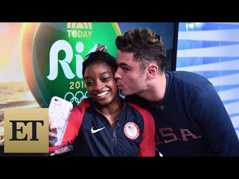 Zac Efron Surprises Simone Biles With a Kiss -- See the Pics and Video!