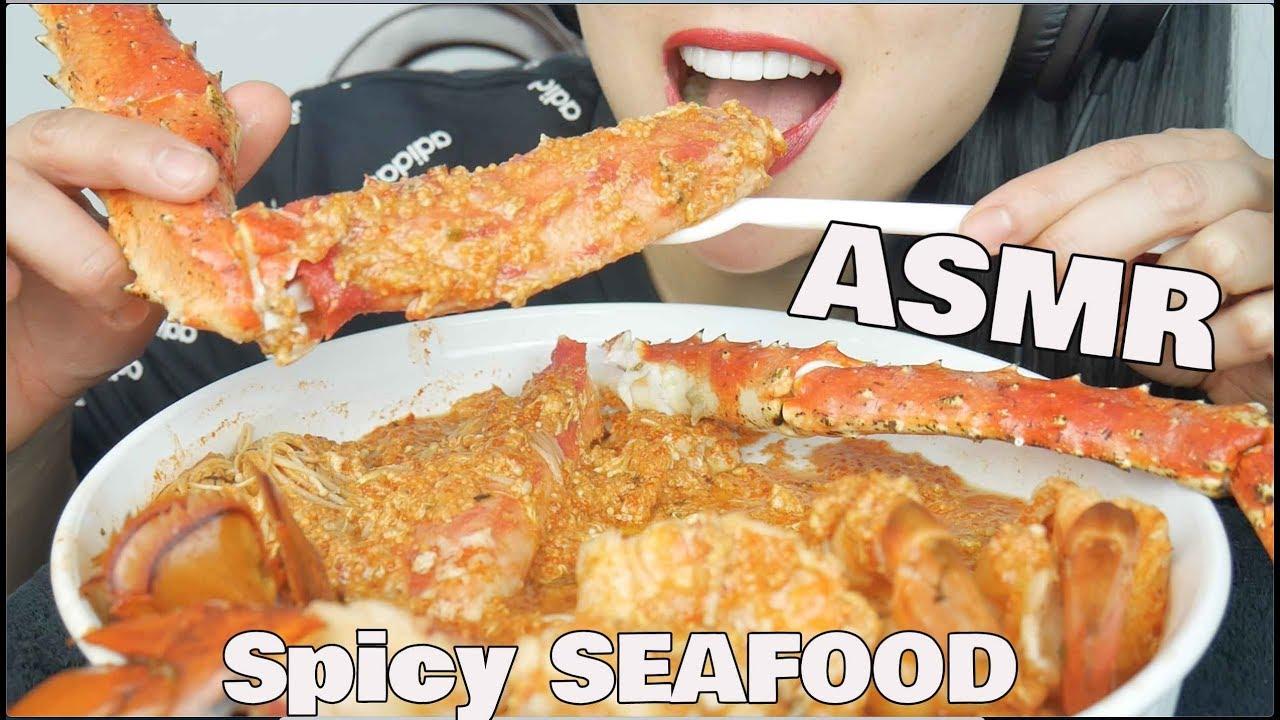 ASMR SPICY SEAFOOD *King Crab + Lobster + Prawns (EATING SOUNDS) NO TALKING | SAS-ASMR