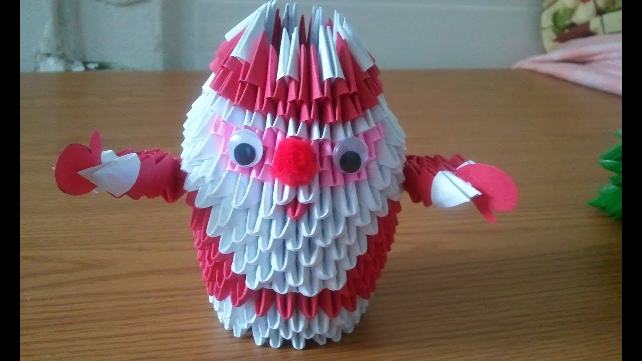 How To Make Santa Claus 3d Origami Part 1 Youtube - Origami-papa-noel