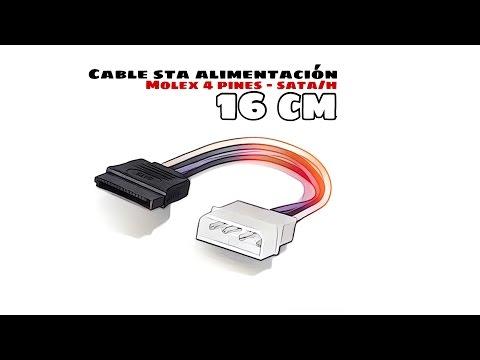 Video de Cable de alimentacion interna Molex 5.25 a Sata 0.15 M Negro