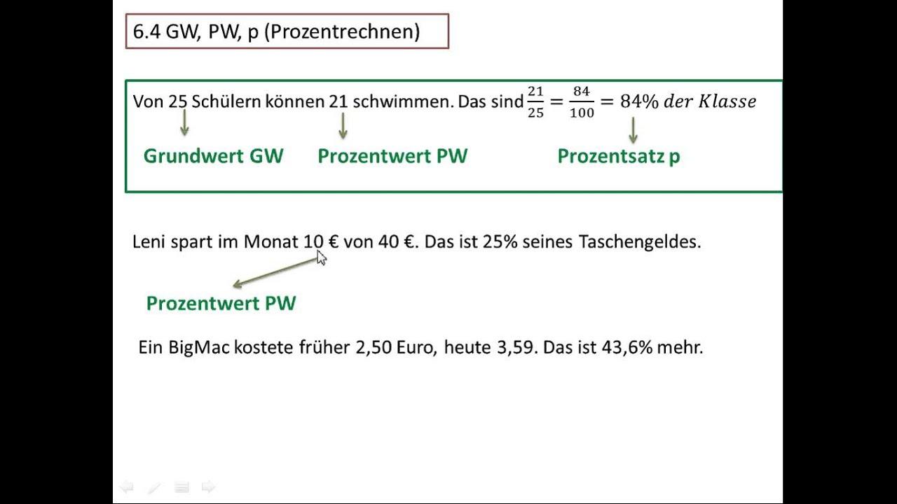 64 Gw Pw P Prozentrechnen