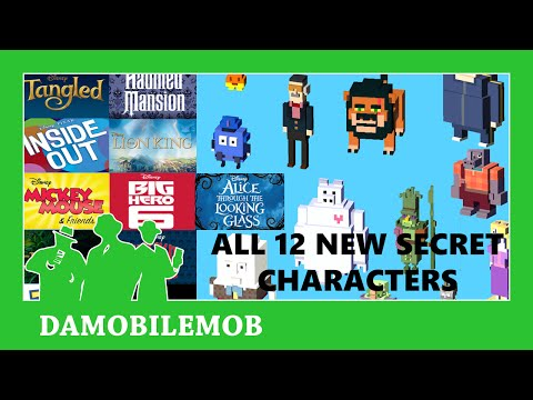 ★ DISNEY CROSSY ROAD All 12 NEW Secret Characters Unlock   Disney CR Update 1.2 (iOS, Android)