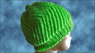Вязание берета спицами. Узор зигзаг. Детская шапочка спицами. (knitting beret)