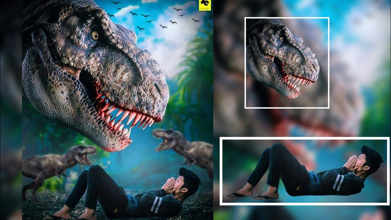 Dinosaur Attacked Boy Photo Manipulation Editing Picsart