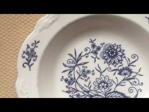 "Homer Laugh DRESDEN Rimmed Soup Bowl Imperial Blue Floral 8 1/2"" USA Set of 3"