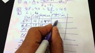 احصاء - شرح الوسيط في الجدول التكراري - الدرس الثاني