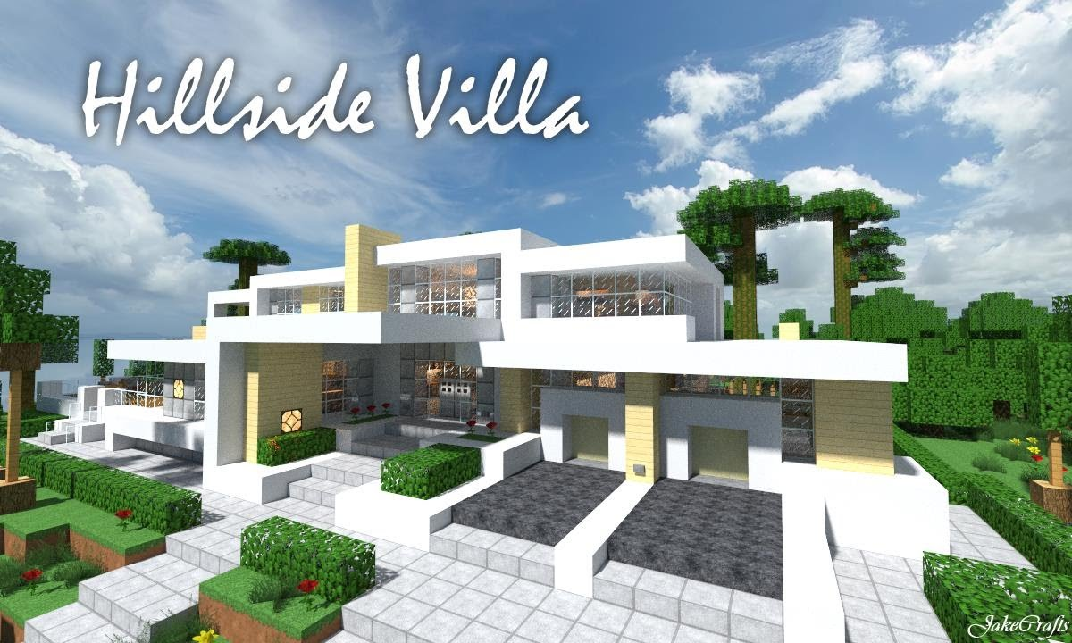 Jakecrafts hillside villa a minecraft modern house for Modern house design on hillside