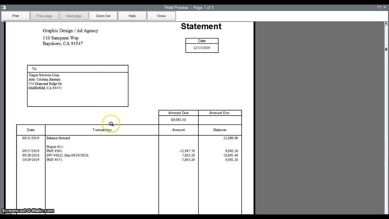 Creating Customer Statements In Quickbooks Youtube