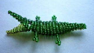 Крокодил из бисера на брелок