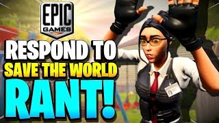EPIC GAMES REPLIED TO my RANT! | Fortnite STW Rant! Season 10 PvE Update