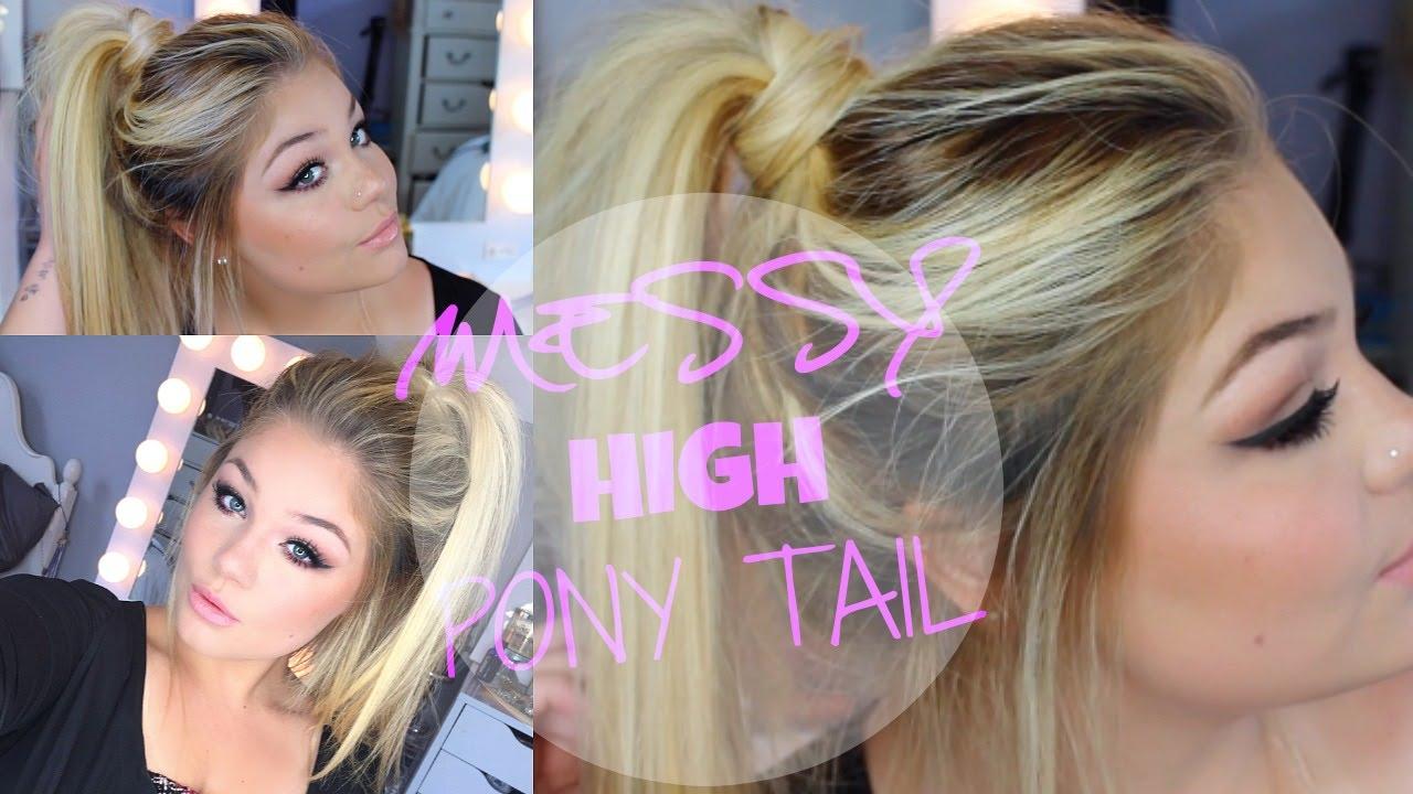 summer hair tutorial | messy high ponytail | blissfulbrii - youtube