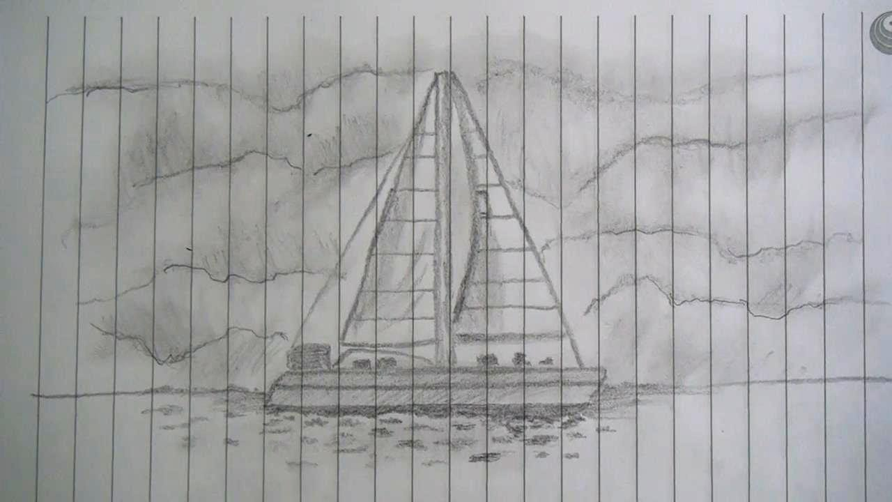 Cara Menggambar Kapal Layar Speed Drawing Youtube