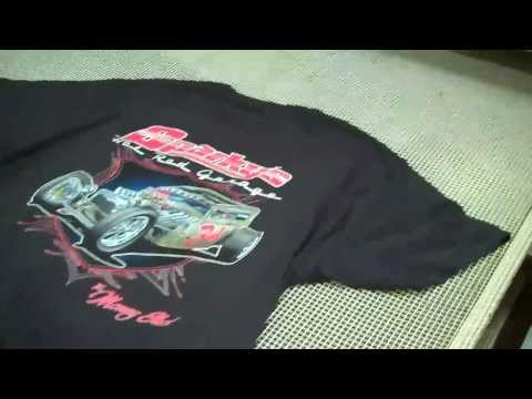 Screen Printing a 7 color Simulated Process T shirt – M&R 10 color Sportsman Automatic press