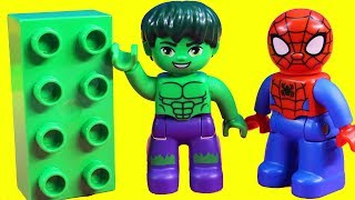 Lego Duplo Hulk & Spider-man Play Carnival Games And Win A Prize Teddy Bear