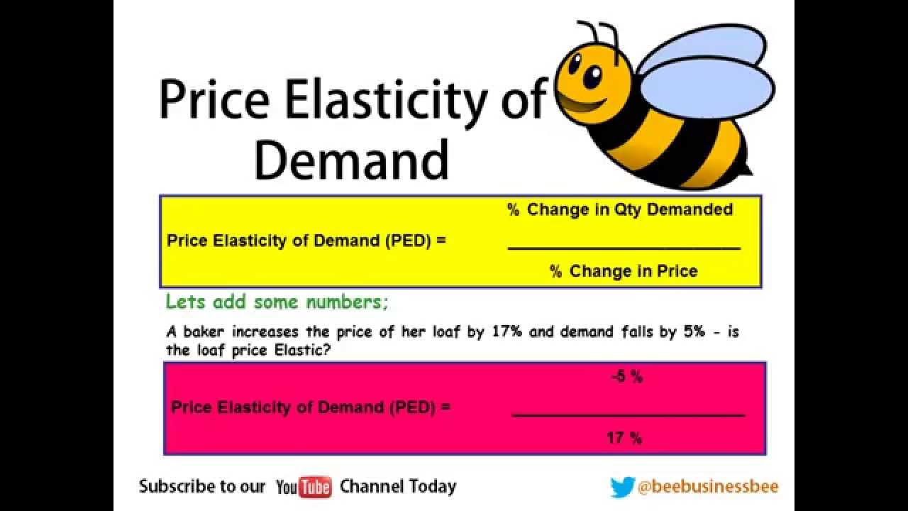 Elasticity of Demand PED Bee Business Bee Lesson YouTube – Elasticity of Demand Worksheet