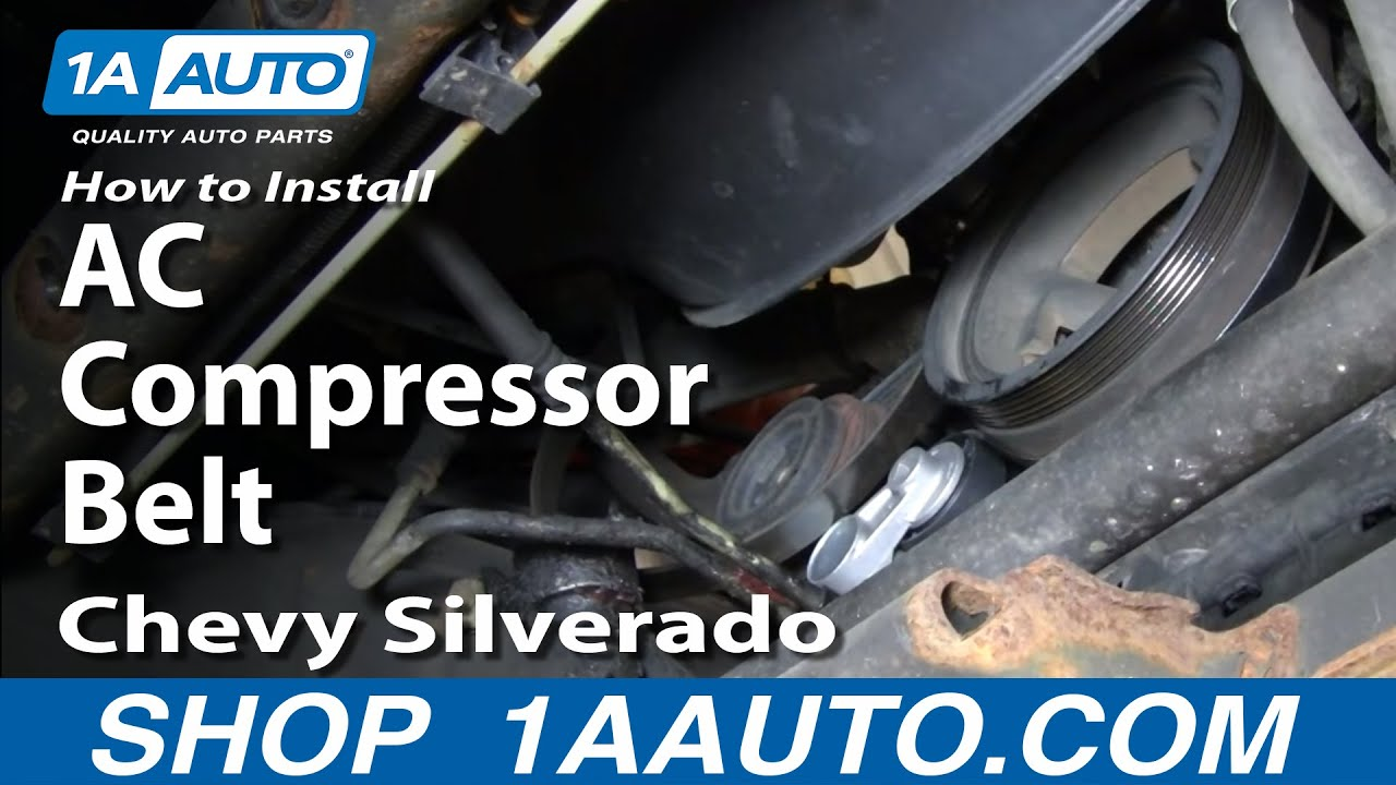 how to install replace ac compressor belt chevy silverado gmc sierra rh youtube com 2001 chevy silverado engine wiring diagram Chevrolet Silverado Wiring Diagram