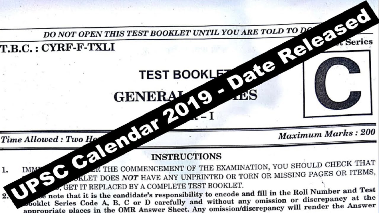 upsc calendar 2019 date released do or die upsc ias preparation 2019