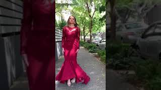 Tinaholy Couture Designer BA203 Burgundy High Low Long Sleeve Formal Gown
