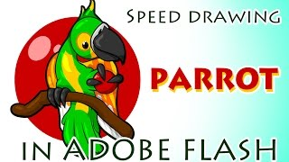 Speed drawing PARROT in ADOBE FLASH 2 AI 2 EPS
