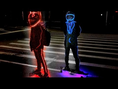 TRONBOARD NYC/ Glowing Skateboarders Ride Through New York City