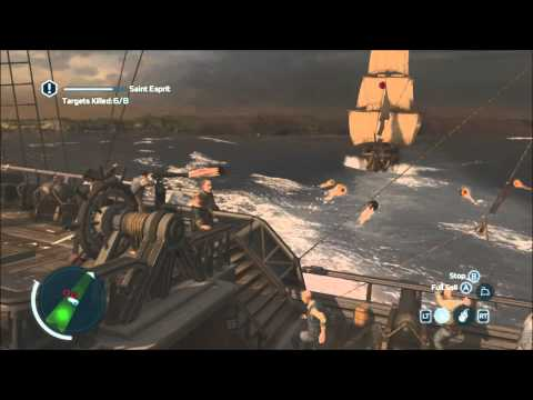 The Battle of Chesapeake - S11M1 - Full Sync - 3 ships with one broadside - Assassin's Creed 3
