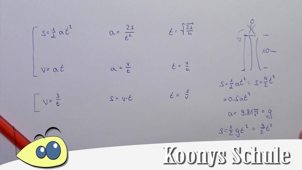 Alle Formeln, gleichmäßige und gleichförmige Bewegungen | Übersicht ...