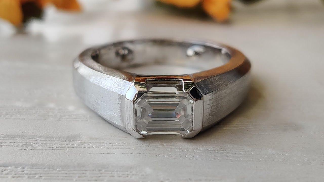 1.16CT Emerald Colorless Moissanite Men's Ring | Half Bezel Set ...