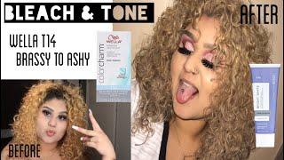 Bleach & tone curly hair using WELLA T14 & ION BRIGHT WHITE