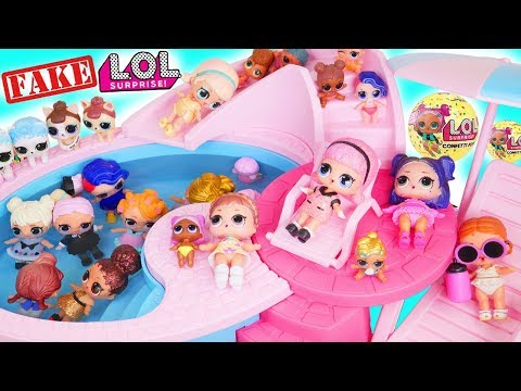 Fake LOL Surprise Pets Dolls Dress Up + LQL Lil Sisters Fizz Shell Water DIY, Aquarium Pop Num Noms!