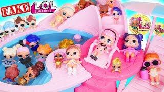 Fake LOL Surprise Pets Dolls Dress Up + LQL Lil Sisters Fizz Shell Water DIY, Aquarium Pop Num Noms!