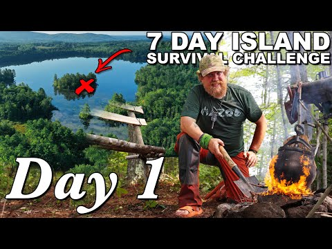 7 Day Island Survival Challenge Maine - Day 1of 7 - Catch and Cook Survival Challenge !