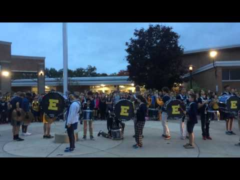 East Grand Rapids High School drum line performs in front of middle school 10/9/2015