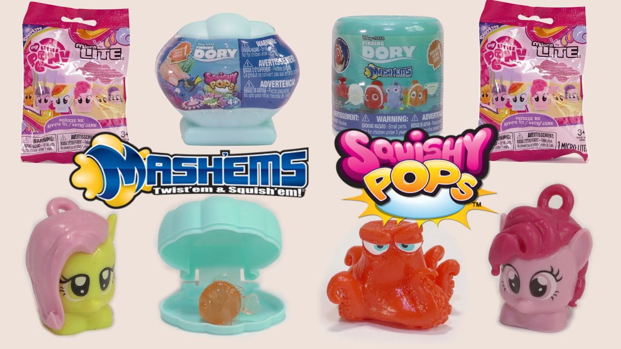 Squishy Pops Blind Bags : Finding Dory Mashems & Squishy Pops Toys & My Little Pony Micro Light Blind Bags By Tech4Kids ...